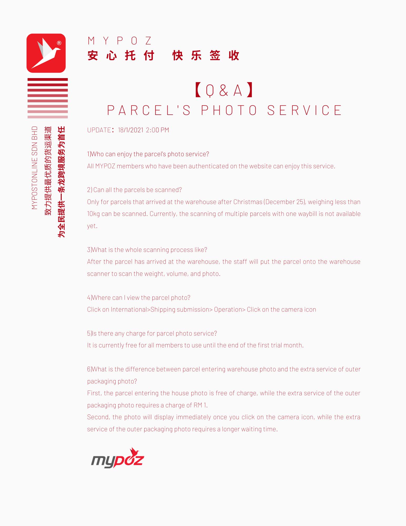 【Q&A】PARCEL'S PHOTO SERVICE Q&A