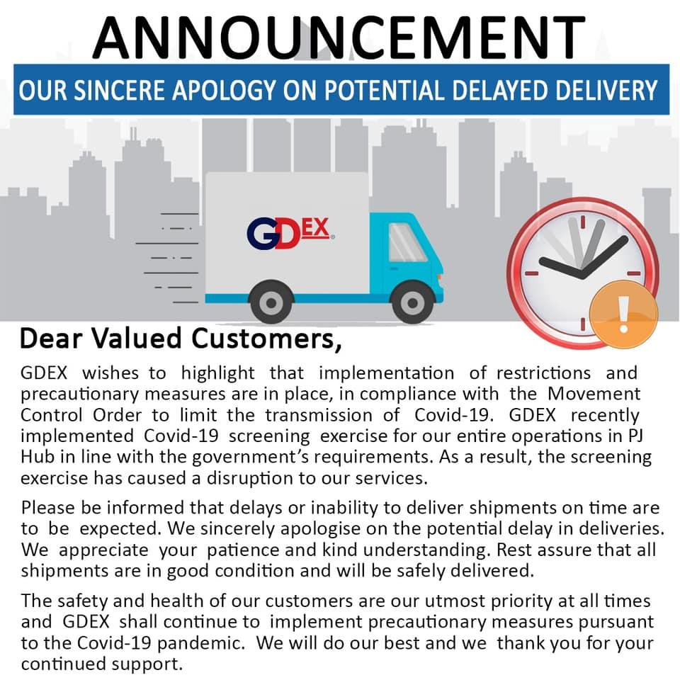 【NOTICE】GDEX OFFICIAL ANNOUNCEMENT