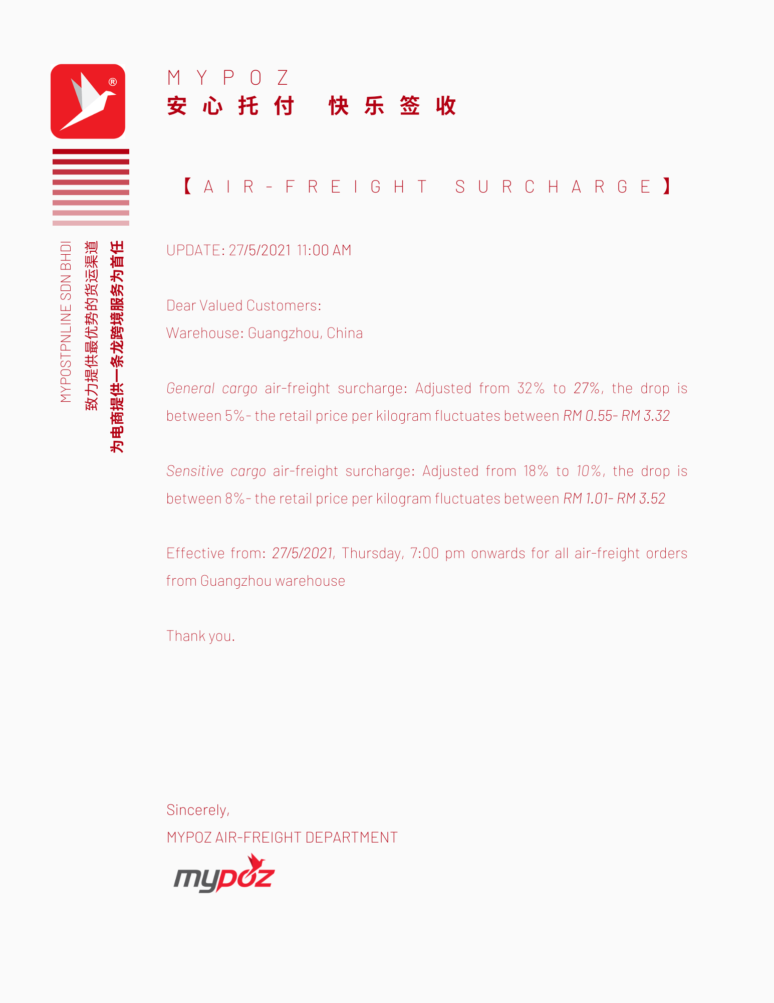 【NOTICE】AIR-FREIGHT SURCHARGE