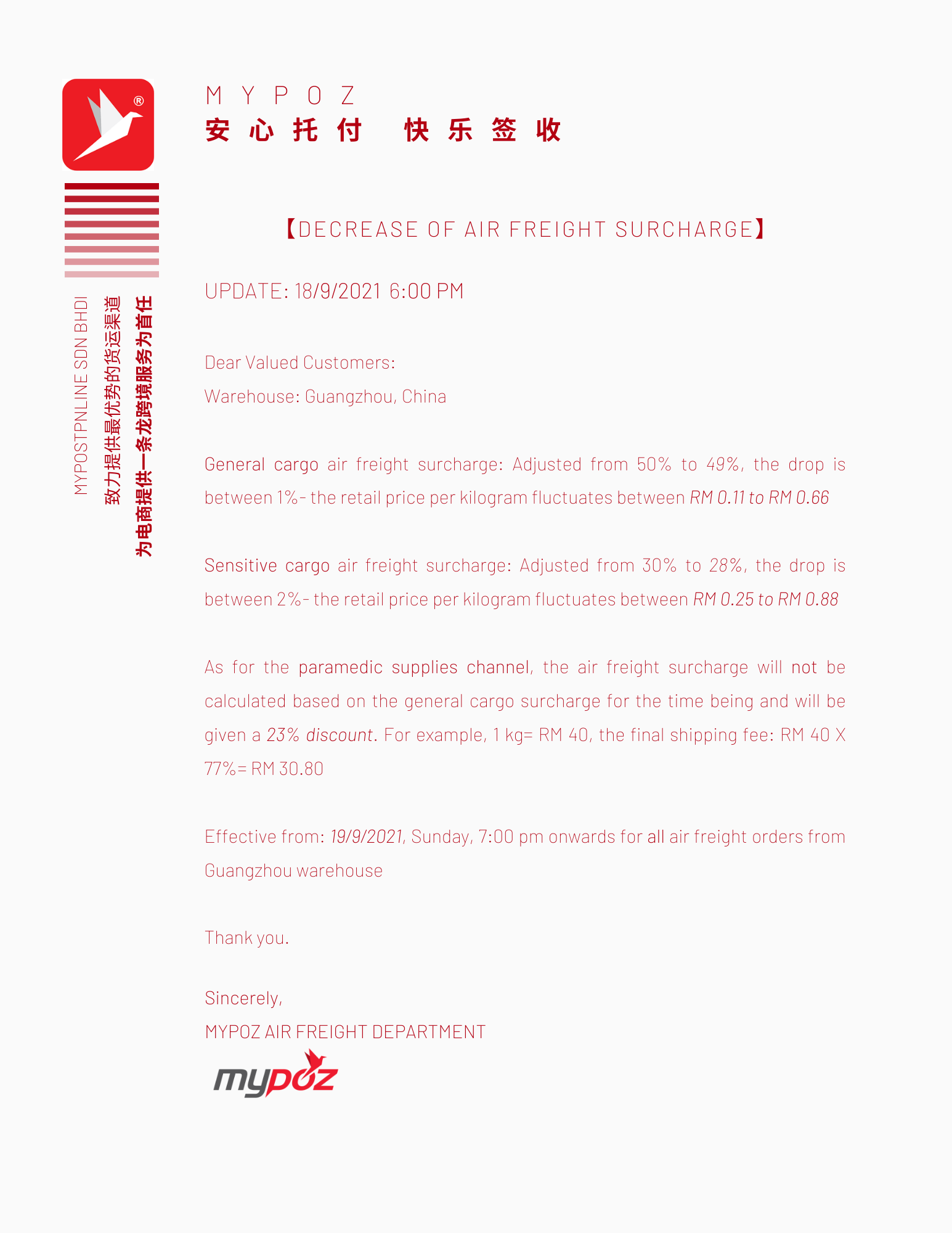 【NOTICE】DECREASE OF AIR FREIGHT SURCHARGE